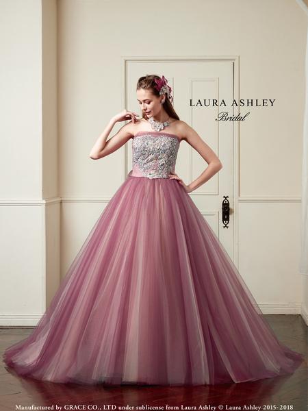 【LAURA ASHLEY】ピンクのカラードレス