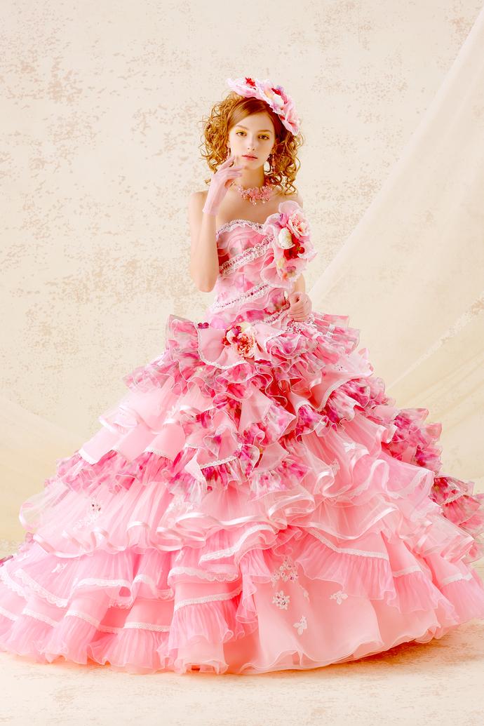 ピンク花柄ドレスのサムネイル